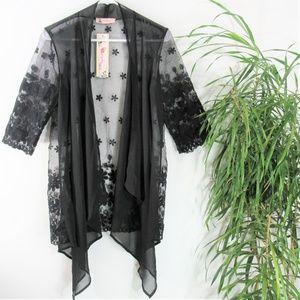 NEW! Sheer Black Floral Applique Organza  Kimono